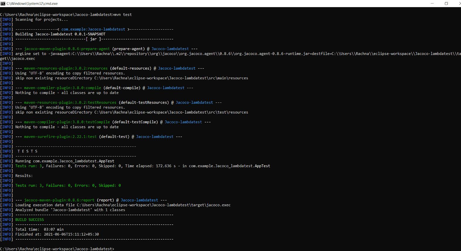 running the Maven Test Through Command,
