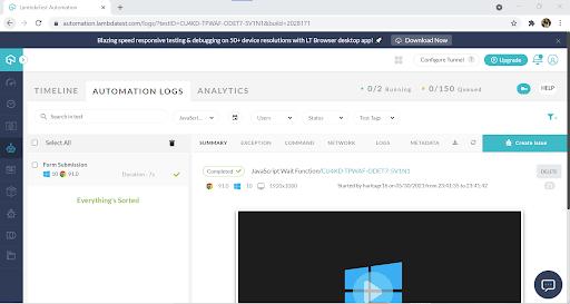 LambdaTest Automation dashboard