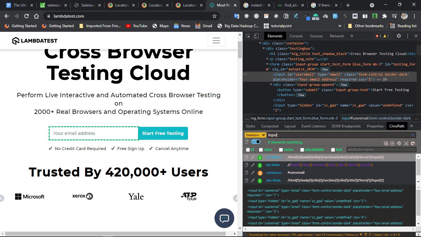 WebElements using