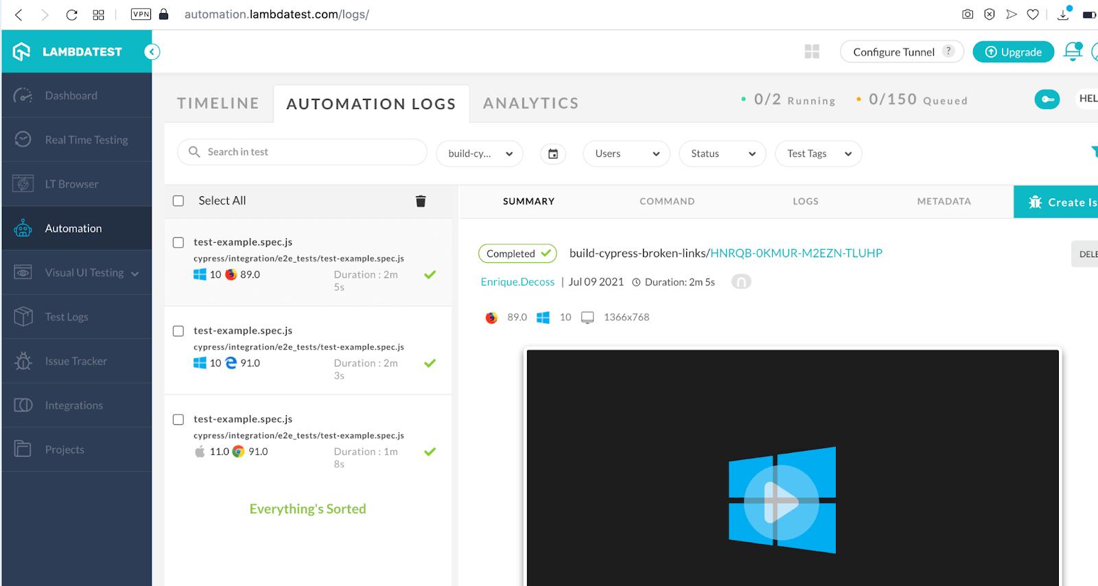 automation log