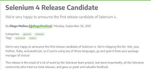 selenium 4 release