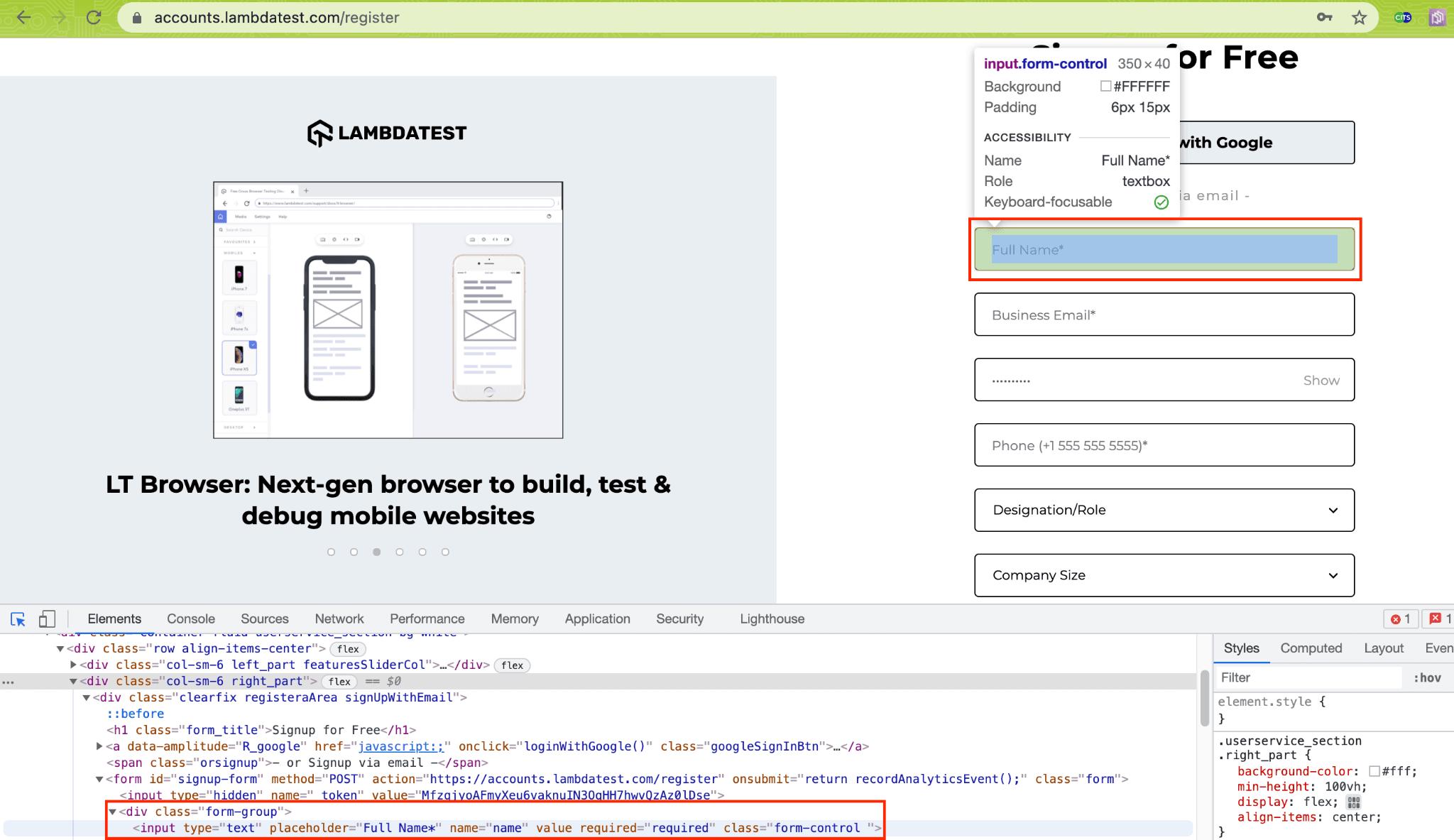 LambdaTest Account Creation