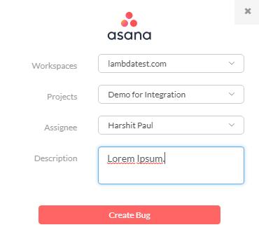 LambdaTest Asana integration