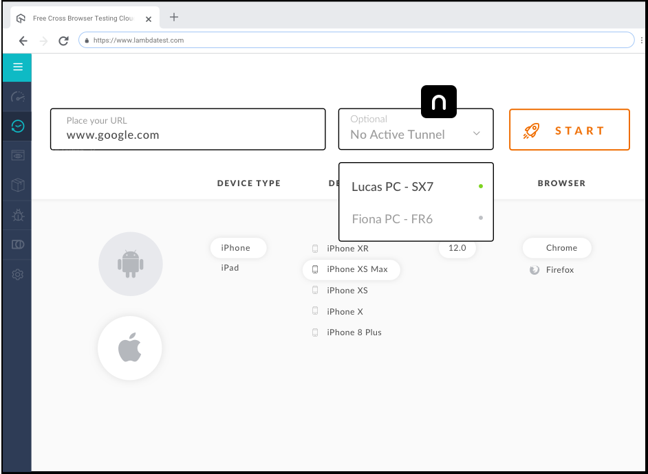 browser compatibility testing of local host