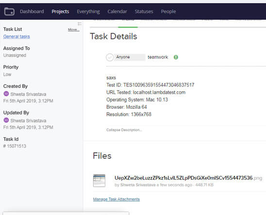 LambdaTest Teamwork integration