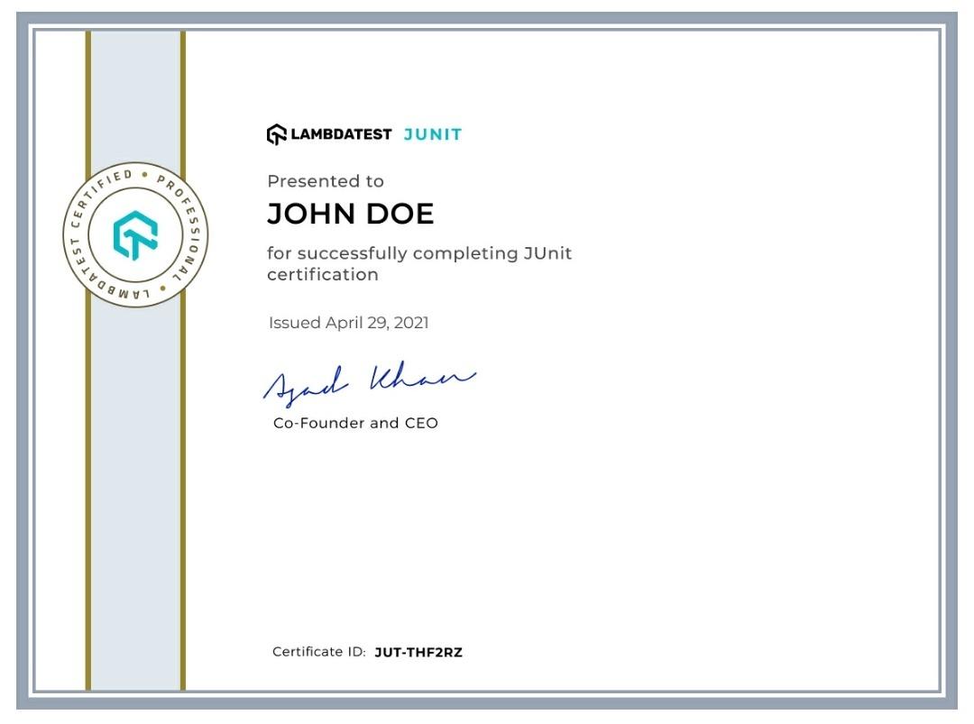 LambdaTest Certificate