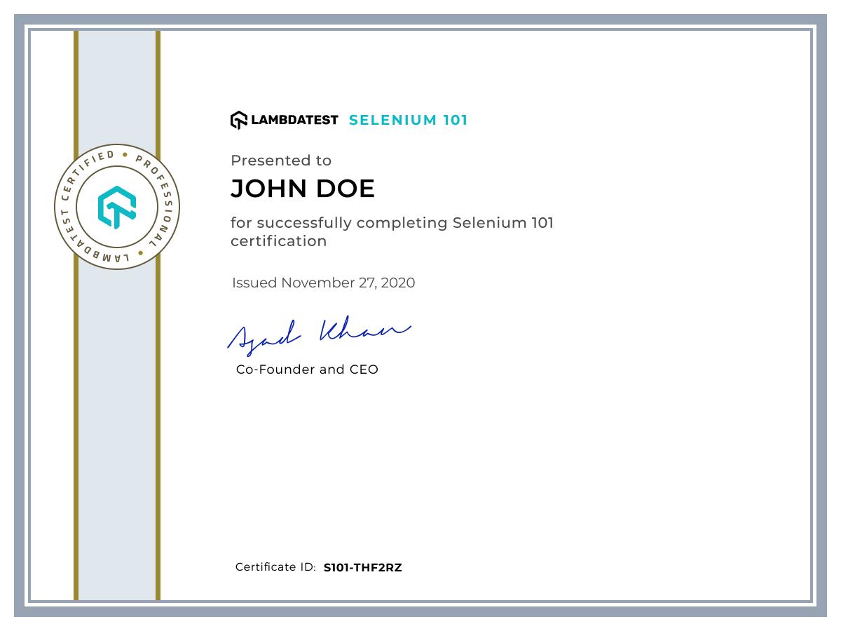 Selenium 101 LambdaTest Certification