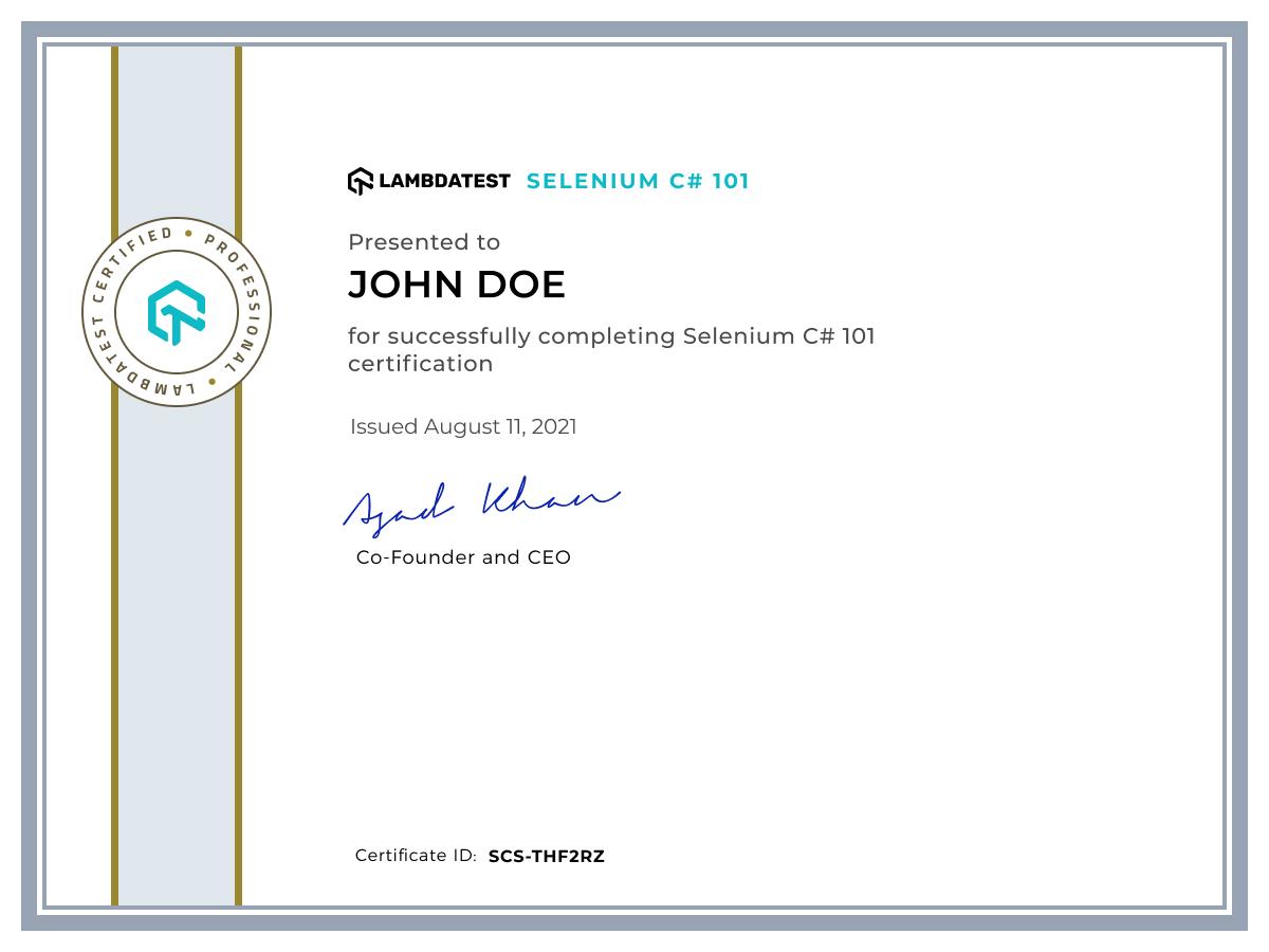 Selenium C# 101 LambdaTest Certification