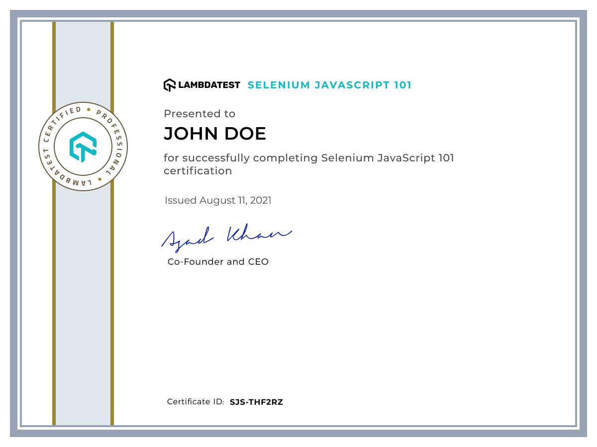 Selenium JavaScript 101 LambdaTest Certification