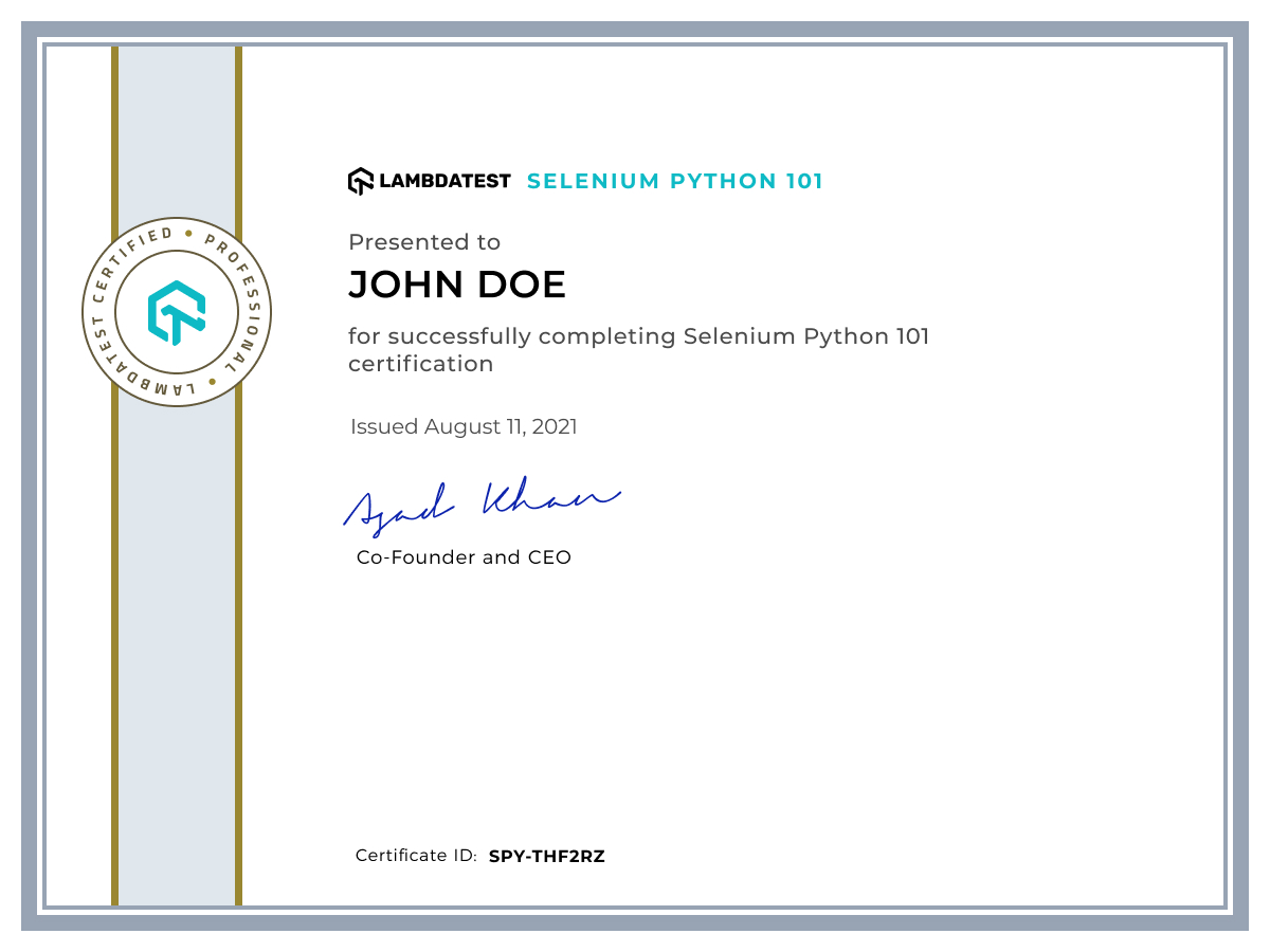 Selenium Python 101 LambdaTest Certification