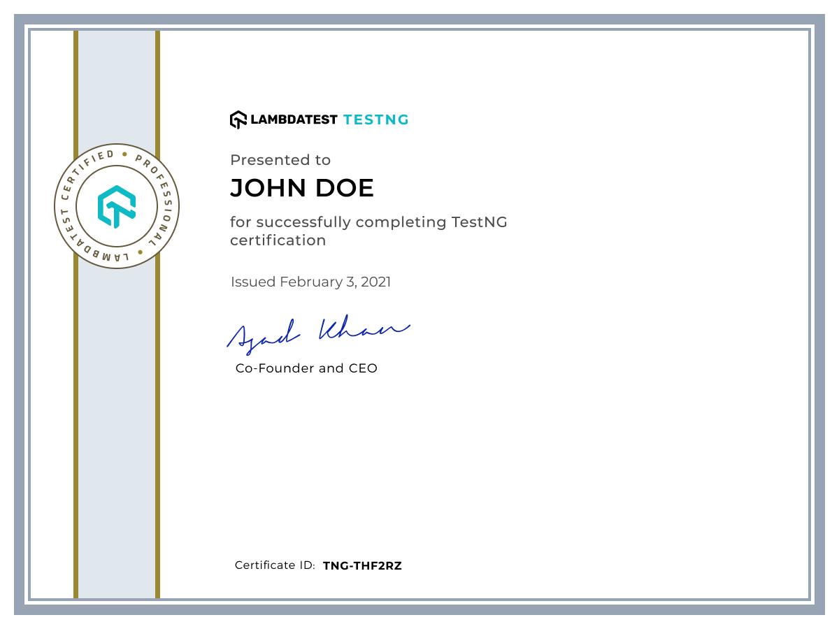 TestNG LambdaTest Certification
